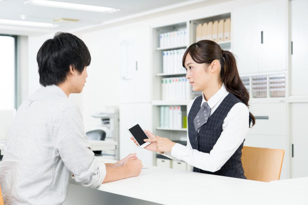 日本の携帯ショップの様子
