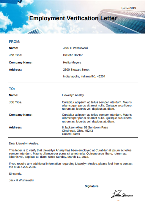 EMPLOYMENT VERRIFICATION LETTER SAMPLE